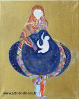 Oeuvre inspirée d'un dessin de nikki de Saint Phalle et changement des couleurs en mode fauve.