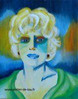 Création d'un portrait de Fanny Ardent à partir d'une photo NB, - couleurs dans le style fauve